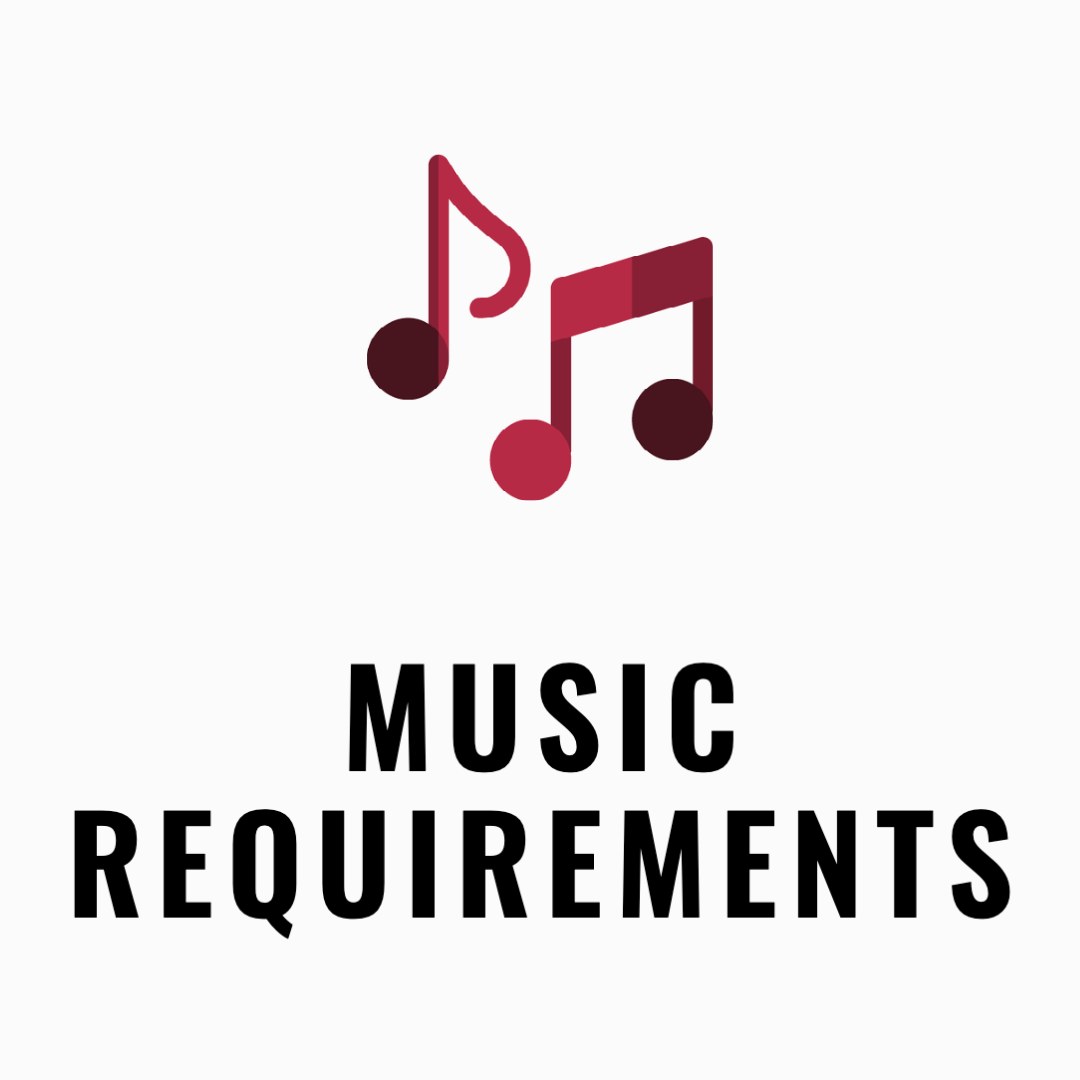 Music notes and the text music requirements