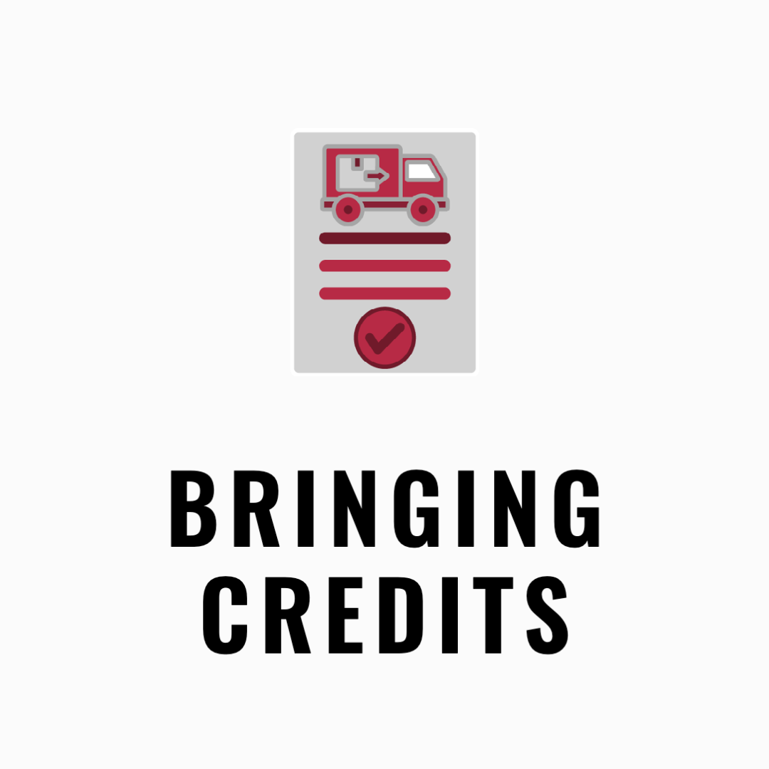 Bringing credits with an icon of a truck and a check mark.