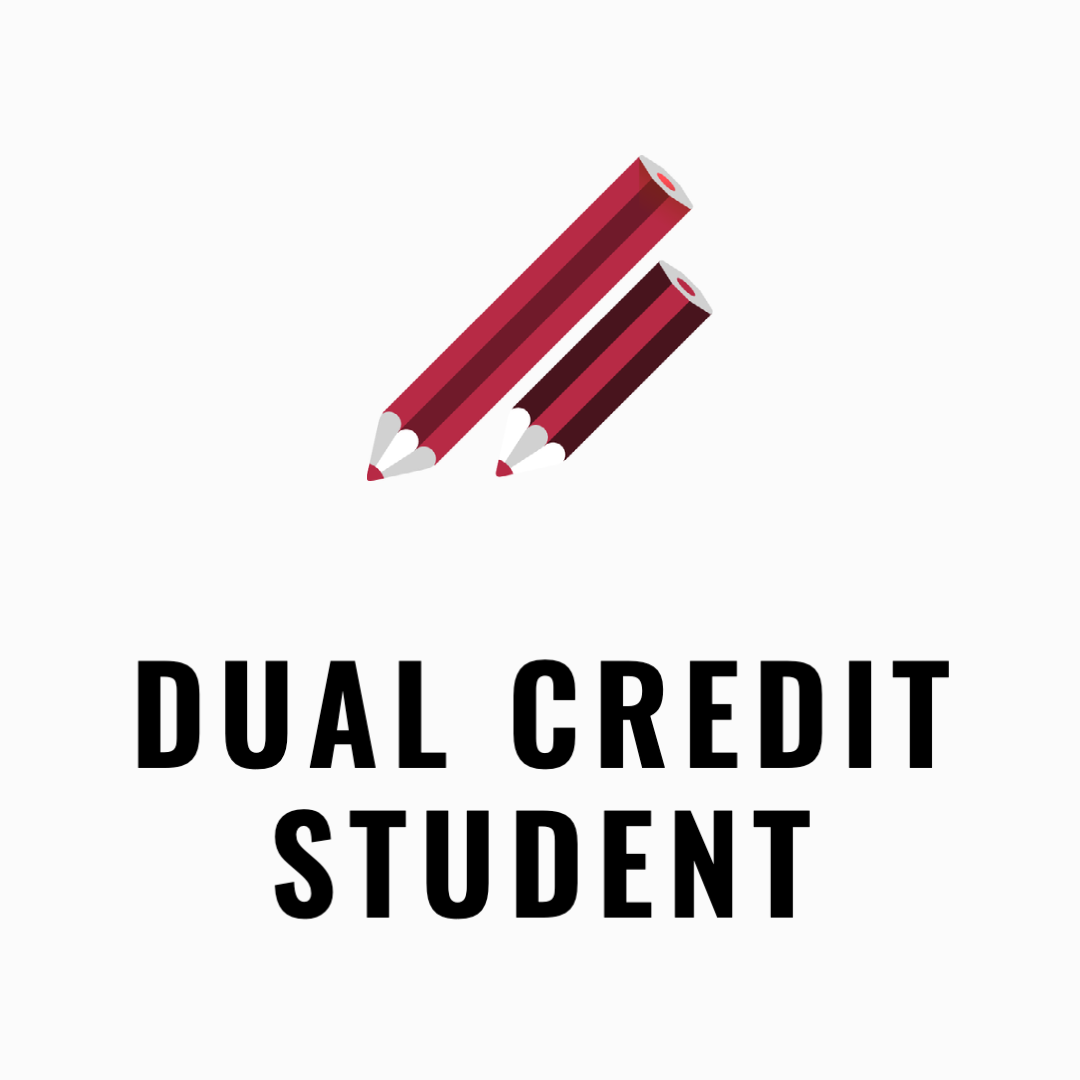 Dual credit student icon with two pencils indicating two simultanious classes