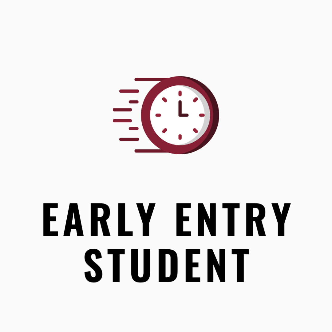 early entry student icon with a clock to indicate speed.