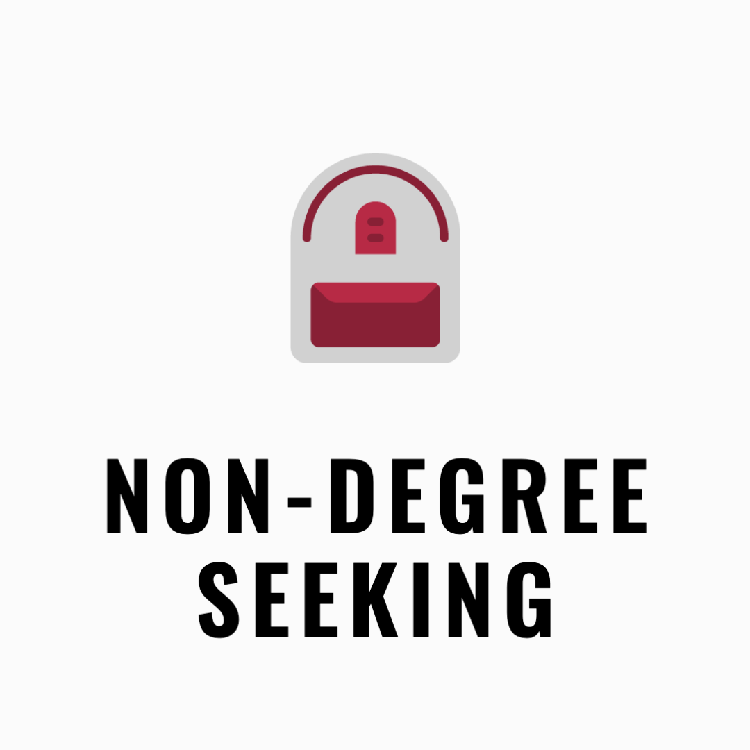 Non-degree seeking icon with a grey backpack
