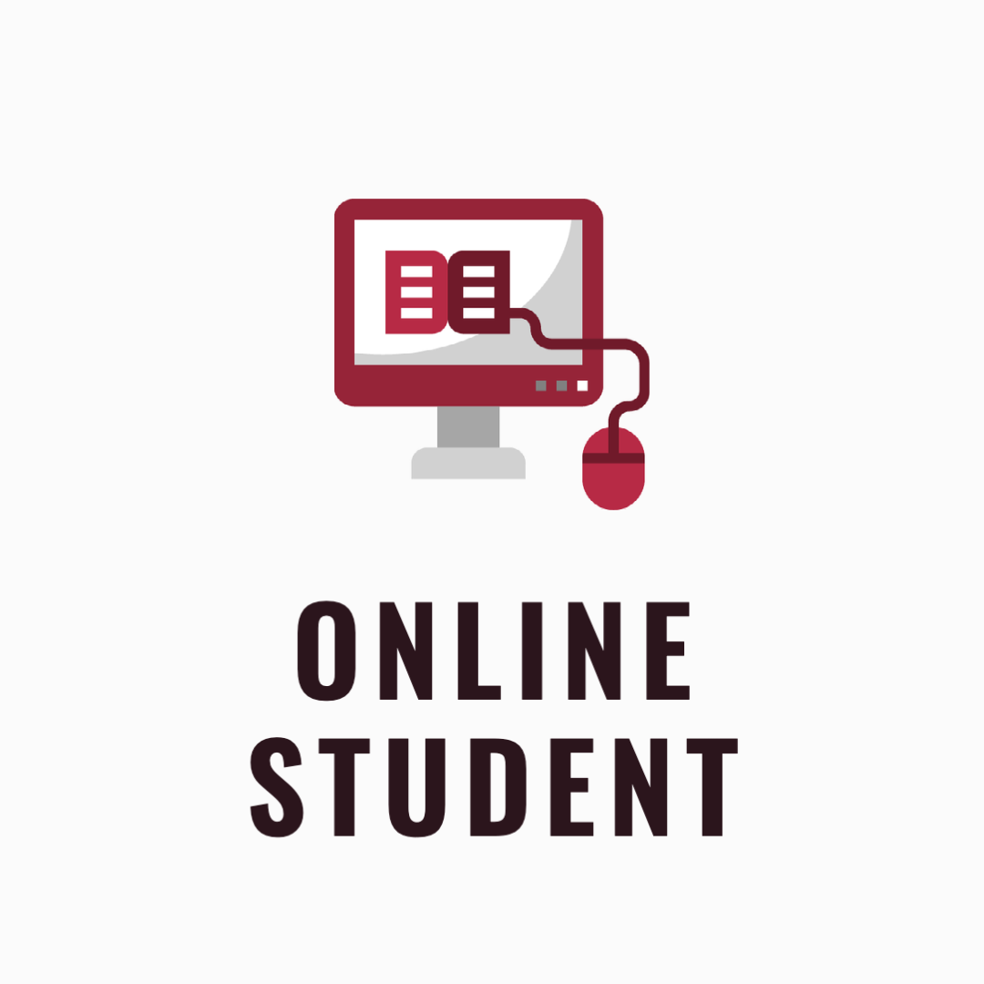 Online student icon with a computer and a mouse connecting to a book