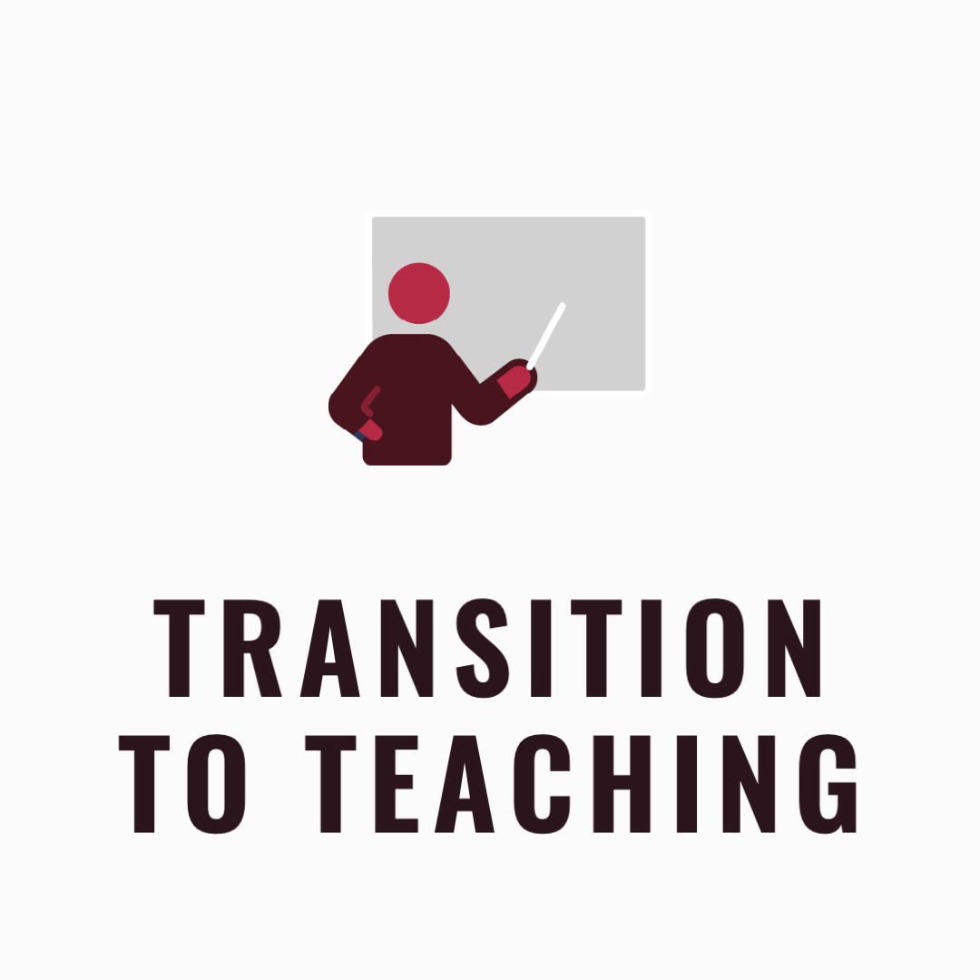 Transition to teaching text and an icon of a person teaching with a chalkboard