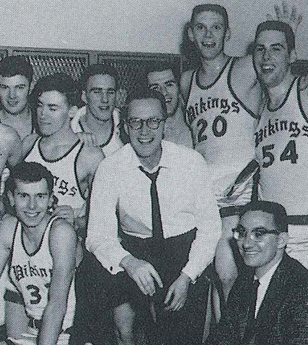 Bill Osmon with one of his VCSU basketball teams.