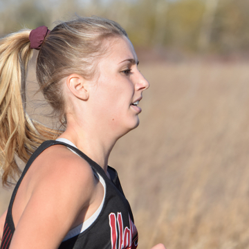 Angeline Gannon, VCSU student, competing in a Viking track and field event