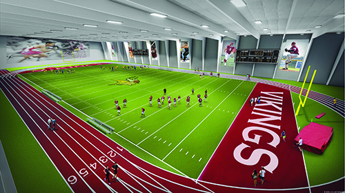 Architect rendering of multi-purpose indoor turf in the Valley City State University athletic facilities