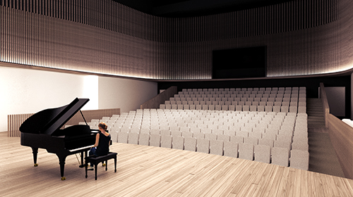 Architect rendering of concert hall in new Center for the Arts