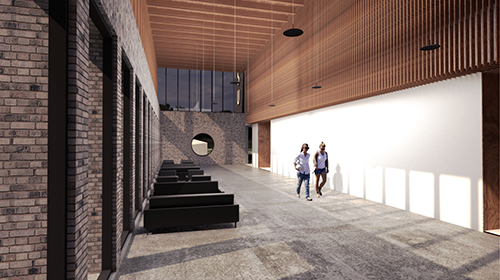Architect rendering of lobby in new Center for the Arts
