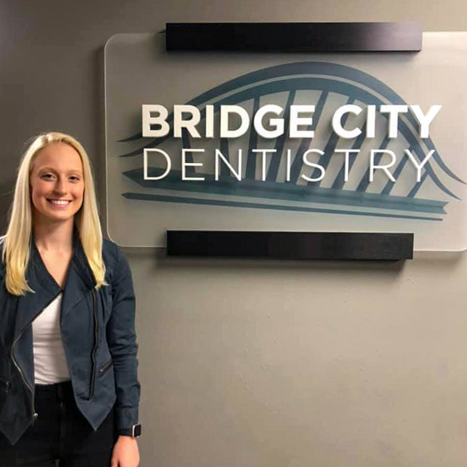 Peyton Halverson, VCSU student, at Bridge City Dentistry